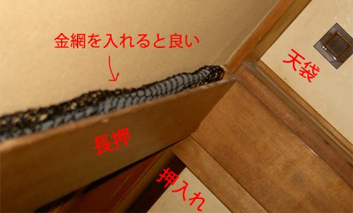 長押(なげし) ネズミ 金網