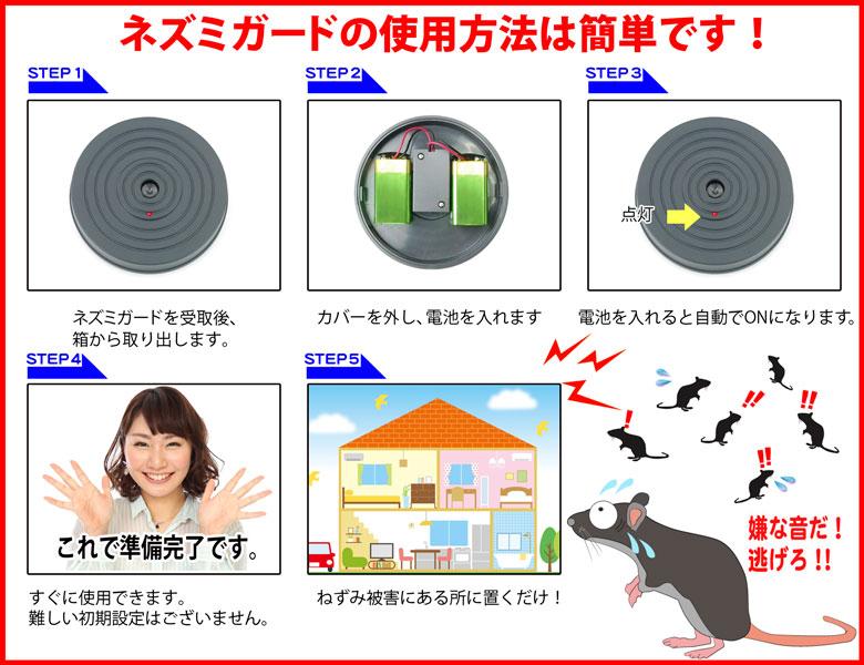 ネズミガードは電池式なので場所を選ばな